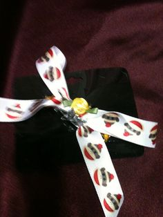 Handmade hair barrette small  bow, cute sick monkey design on Etsy, $5.00