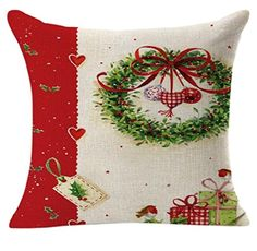 Rukiwa Christmas Linen Square Throw Flax Pillow Case Decorative Cushion Cover -- Click on the image for additional details.