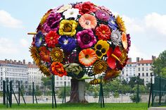 "The Flower Tree by Choi Jeong-Hwa  This ""Flower Tree"" is located at Antonin Poncet in Lyon.  Created by Choi Jeong-Hwa, it was first installed temporarily in 2003 during the Biennial of Contemporary Art in Lyon. It was re-established in September 2007. It should be permanent."