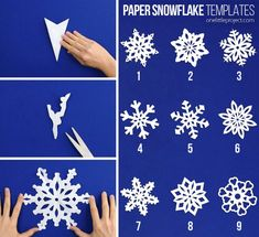 These paper snowflakes are SO FUN and really simple to make! Such a classic craft tutorial that teaches you how to make perfect snowflakes every time! Making Paper Snowflakes, Paper Snowflake Template, How To Make Snowflakes, Candy Crafts, Christmas Projects, Christmas Crafts, Paper Crafts, Paper Art, Winter Activities For Kids