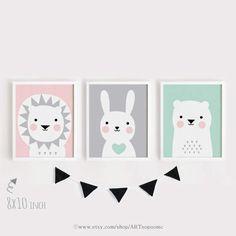 Drucken Löwe Hase Bär druckbare Art Set von 3 Poster