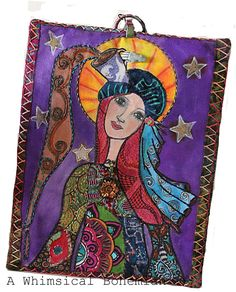 """fabric wallhanging  (8""""x10"""") created for an art swap - Coffee Goddess."""