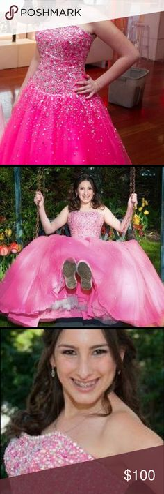 Pink ball gown Gorges pink gown worn to my bat mitvah. Can be worn to a sweet 16 or prom as well. Worn once. Mori Lee Dresses Prom