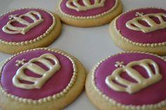 Royal Crown Cookies in Burgundy Icing