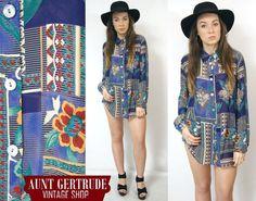 FLORAL SHIRT vintage blouse navy blue gypsy by VintageShopGertrude