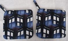 Homemade Heat Resistant  Dr. Who Tardis Potholders--Set of 2--