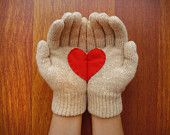 Handful of Heart, Gloves with Red Felt Heart