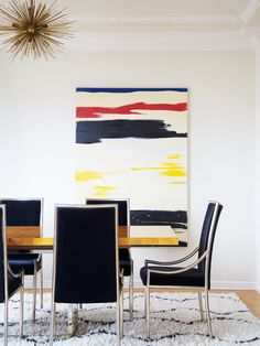 Abstract artwork in modern dining space