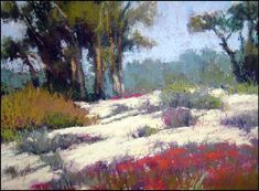 """Pastel Painting by Terri Ford Click on image to go back Dunes & Eucalyptus 8"""" x 10"""""""