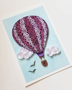 Hot Air Balloon card.  - Designed to sit vertically.  - Size of card: 105x148mm.  - The card is packaged carefully to ensure a safe delivery.  -Each card is with cardbox with ribbon.  Each card is made individually so the card you receive may differ very slightly from the photograph.  I ship the quilling cards with tracking number for your protection and a guarantee delivery.  Please let me know through ETSY Conversation if you have any questions!  more birthday cards here…