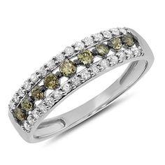 0.51 Carat (cttw )10k Gold Brown Round Diamond 2 Two Tone Wedding Anniversary Band Fashion Ring 1/2 CT – White-gold, Size 6