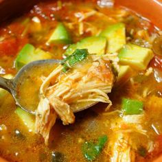 Paleo Comfort Foods' Chicken Tortilla-less Soup - my sister is eating Paleo so we made this for dinner tonight and loved it! Those not eating Paleo added shredded cheese and broken tortilla chips on top. Paleo Soup, Paleo Chicken Soup, Roasted Chicken, Healthy Soup, Chicken Avocado Soup, Chicken Soups, Cooked Chicken, Breaded Chicken, Whole 30 Recipes