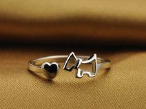 Sterling Silber Hund ring