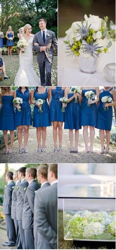 Steel blue and grey wedding color inspiration.  JCrew bridesmaid dresses are always a good choice.
