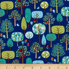 Jolly Farm Trees Blue from @fabricdotcom  Designed by The Henley Studio for Makower UK, this cotton print fabric is perfect for quilting, apparel and home decor accents. Colors include yellow, green, brown, red, orange, white and blue.
