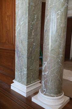 These columns were painted to look like Green Campan Marble. Marble Pillar, Marble Columns, Stone Columns, Door Gate Design, House Gate Design, Marble Painting, Faux Painting, Faux Crown Moldings, House Pillars