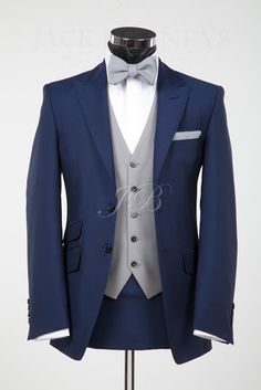 These are some very classy light summer groom colors. This particular navy that is a little grayed and a little cool, but still fairly vibrant, and the dove gray.