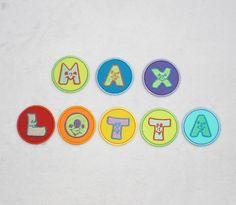 Bunte*Bubbels*Buchstaben,Applikation zum Aufbügeln