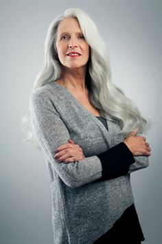 Mature Woman With Long Gray Hair Standing Stock Photo 460261809