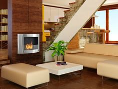 Eco-Feu Olympia is a wall-mount bio-ethanol fireplace that makes it possible to bring a real fireplace to apartments, condos, patios, or anywhere else, without any remodeling. Biofuel Fireplace, Bioethanol Fireplace, Stove Fireplace, Wood Fireplace, Indoor Fireplaces, Modern Fireplaces, Fireplace Ideas, Foyers, Foyer Mural