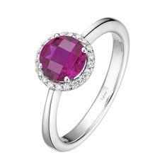 Lafonn Lab Grown Ruby and Simulated Diamond Halo Birthstone Ring