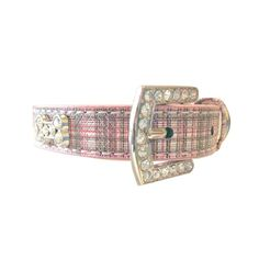 Pink Plaid Rhinestone Bone Pet Collar This gorgeous and stylish dog collar is chic and elegant and for dogs that love attention. PU leather pink glitter plaid collar with sparkly bone shaped rhinestones and rhinestone buckle.