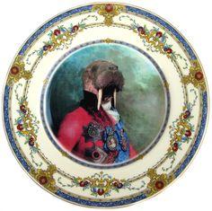 Sir Odobenus Rosmarus Portrait - Altered Vintage Plate $125.00, via Etsy.