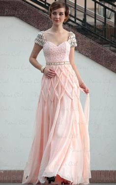 Beautiful Sweetheart Long Pearl Pink Floor-length Prom Dresses