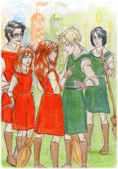 So I would say this is a Dramione fan art but Hermione never flew, let alone played Quidditch. This is actually a Generation fanart! From left to right: James Potter, Lily Potter, Rose Weasley, Scorpius Malfoy and Albus Potter Lily Potter, Harry Potter Fan Art, Harry Potter Ships, Harry Potter Fandom, Harry Potter World, James Sirius Potter, Albus Severus Potter, Draco And Hermione, Draco Malfoy