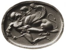 Chalcedony. A sphinx seizes a warrior youth who fights back; a variant on the common theme of the Theban sphinx carryng off a dead youth. By the Semon Master.  London 1933.10-15.1. 18mm. AGGems no. 251.