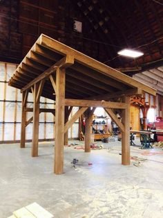 A reminder, post and beam doesn't have to be sunk into the ground.Timber frame shed by Heritage Fabrication Inc. Outdoor Pergola, Wooden Pergola, Pergola Plans, Outdoor Rooms, Backyard Patio, Pergola Kits, Pergola Roof, Cheap Pergola, Pergola Ideas