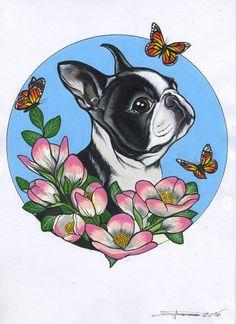 boston , boston terrier , dog portrait , custom pet portrait