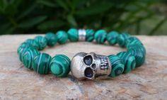 Green Malachite Gemstone Skull Bracelet from Braceletshomme on