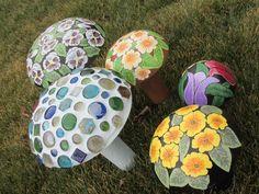 Concrete mushroom, marble mosaic, garden decor, yard art, light blue, mushroom patch. $29.50, via Etsy.