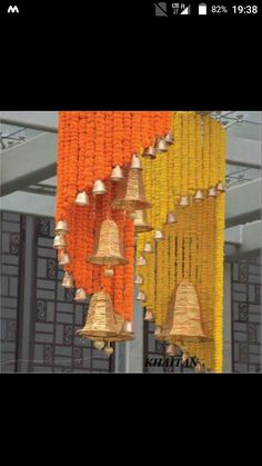 Spiral Flowers With Bells Stage Decoration Ide Diwali Decorations At Home, Wedding Stage Decorations, Festival Decorations, Flower Decorations, Ganapati Decoration, Decoration For Ganpati, Flower Rangoli Images, Housewarming Decorations, Diwali Images