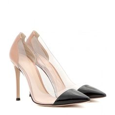 Gianvito Rossi Patent-Leather and Transparent Pumps (1.925 BRL) ❤ liked on Polyvore featuring shoes, pumps, heels, sapatos, high heels, neutrals, black heeled shoes, black patent pumps, nude high heel pumps and high heel shoes