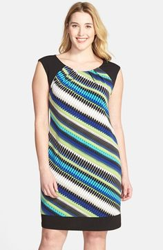 London Times Print Cap Sleeve Shift Dress (Plus Size) available at #Nordstrom