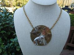 Vintage Animal Necklace. Hand Made. Zebra, Elephant, Giraffe, Brass. Ask a Question    $12.00 USD   Only 1 available
