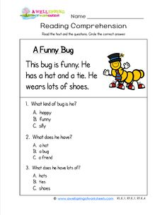Kindergarten Reading Comprehension - A Funny Bug has three simple sentences and three comprehension questions. This worksheet is one of a collection of many kindergarten reading comprehension worksheets. Come check them out!
