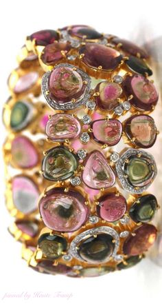 Watermelon tourmaline and diamond cuff in 18k gold by Trésor