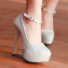 Shiny Silver PU Round Closed Toe Stiletto Super High Heel Ankle ...