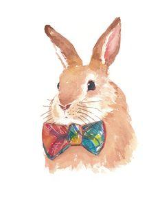 Rabbit Watercolor PRINT - 8x10 Print, Bunny Illustration, Children's Art, Animal Painting