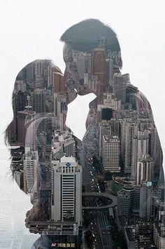 Brilliant series of double exposure silhouette by photographer Jasper James. Photoshop, Lightroom, Double Exposure Photography, Art Photography, Silhouette Photography, Engagement Pictures, Wedding Pictures, Kiss Pictures, Photomontage