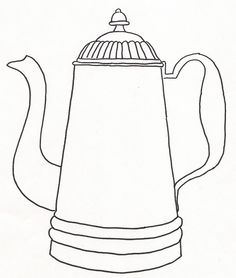 Coffee Pot (2) by jeninemd, via Flickr. This is a whole photoset of the kinds of line drawings one could embroider on tea towels.
