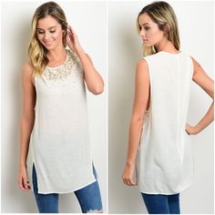 """Cream Sequin Top Cream with Sequins Top. This sheer sleeveless top features a rounded neckline, sequins detail along neckline and side slits. Very chic and stylish.  ‼️PRICE IS FIRM‼️  Material : 50% Rayon, 50% Polyester.       Made in China.   Measurement Armpit to Armpit       Size   S Bust: 18"""" Length: 30"""" Condition: New with Tags. NO TRADES, NO LOW BALLERS, NO PP Discount on bundles.  Ask for Custom Bundle to save  Ships same day or very next day. Tops Tunics"""