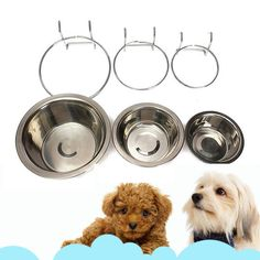 Pet Dog Stainless Steel Bolt Bowl Hook On Cage Feeder Rabbit Crate Food Basin Bolt Dog, Stainless Steel Bolts, Dog Cages, Dog Modeling, Pet Rabbit, Pet Bowls, Animal Jewelry, Cat Toys, Dog Bed