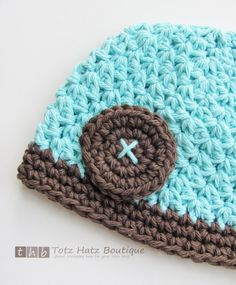 SALE - Robins Egg Blue, Warm Brown Beanie with Crocheted Button. $12.95, via Etsy.