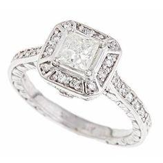 14K White Gold Natural Princess Brilliant Cut Diamond Engagement Ring Vintage Style (1.31Cttw, H Color, SI-1 Clarity