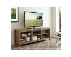 "TV Cabinet Stand Console 6 Large Adjustable Open Storage Shelves Rustic Wood 70"" #WEF #Contemporary"