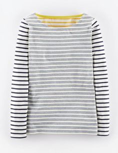 Long Sleeve Breton #breton #gray #black #white #stripes #yellow #shirt #sweater #fashion